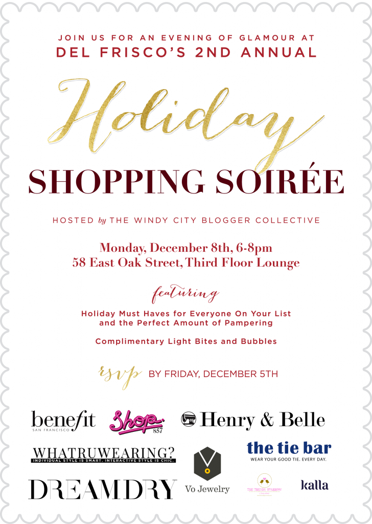 Del Friscos 2nd Annual Holiday Shopping Soiree Invite