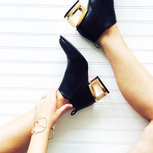 gold block heels