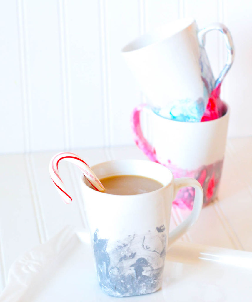 DIY Marble Mugs - Happily Inspired