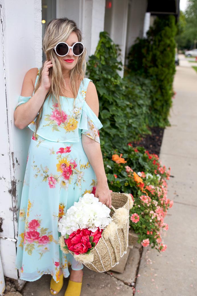 Baby Shower Dress Idea Floral Midi Dress