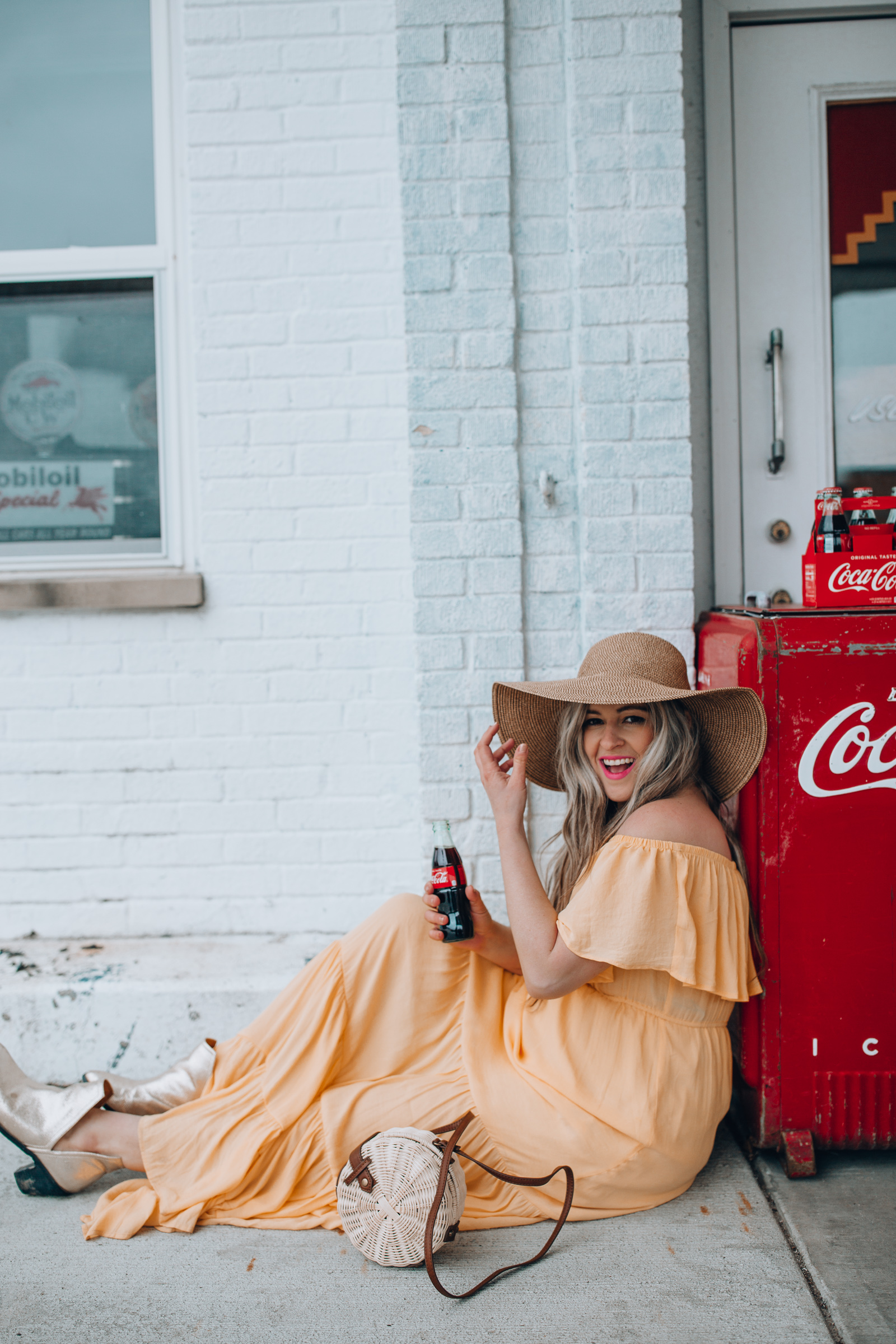 Happily inspired wearing an off the shoulder Summer maxi