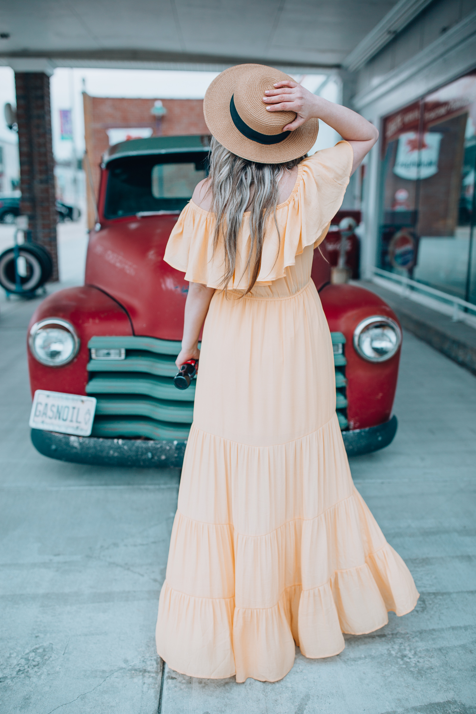Off the shoulder peach maxi from Chicago style blogger Happily Inspired