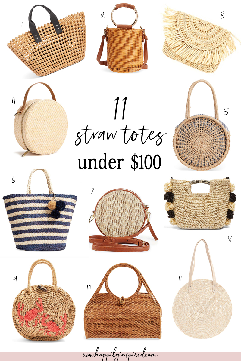 straw tote bags under 100