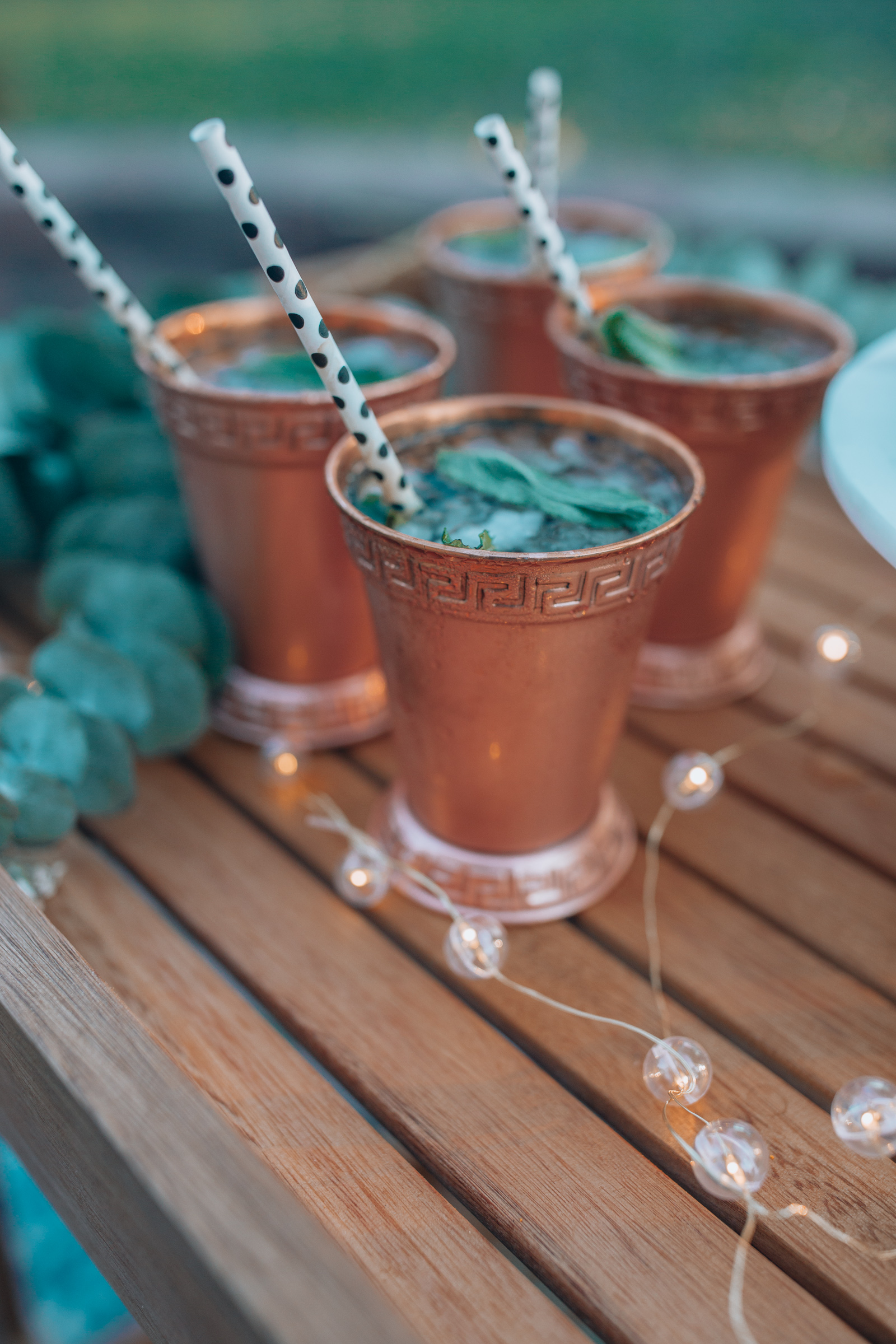 Copper tumblers for Kentucky Derby party drinks